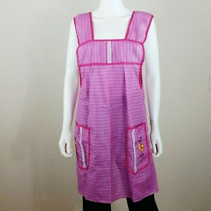 Mexican Cooking Apron Dress Size M Pink Plaid  w/Flower Embroidered Pockets