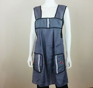 Mexican Apron Dress Size M Blue & White Plaid  w/Flower Embroidered Pockets