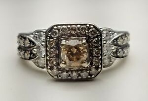Le Vian Chocolate Diamonds 78 tw Diamond Square Frame Ring 14K Vanilla Gold!