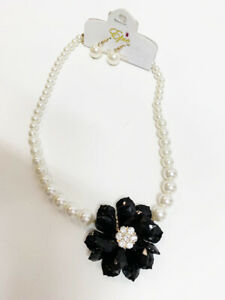 New Womens Faux White Pearl & Black Crystal Center Flower Necklace & Earring Set