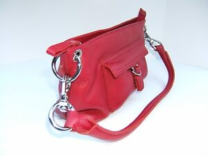 Wilsons Cherry Red Soft Leather Demi Handbag Purse