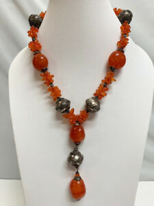 New Women's Jewelry Designer Genuine Orange Red Canelian Stone Silver Necklace