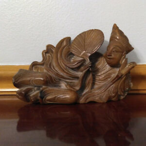 Rare Antique  Stone Carved Statue of Reclining Figure w Fan