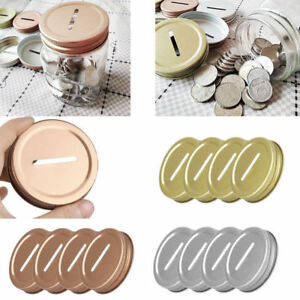 8Pcs 70MM Stainless Steel Coin Slot Bank Lids Insert FOR Mason Jars Canning Caps