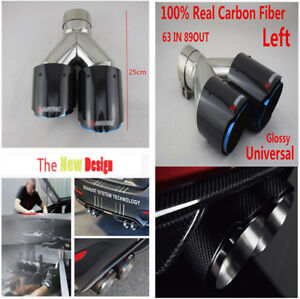 Real Carbon Fiber+Durable Stainless Steel Car Left Exhaust Dual Tailpipe Muffler
