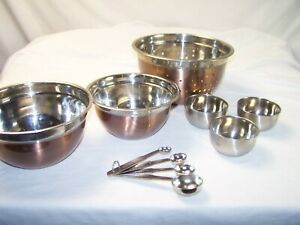 Bowl Set Strainer Measuring Cups Mixing Copper Stainless Cake Wear Cooking