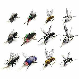 Trout Fly Fishing Flies Realistic Dry Wet Nymph Streamers Fly Lures Kits 12 Set