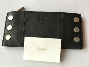 NEW HAMMITT Los Angeles 110 NORTH WALLET CLUTCH Black Leather Brushed Silver NWT