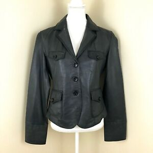 Wilsons Large Three Button Front Leather Jacket Dark Grey $250