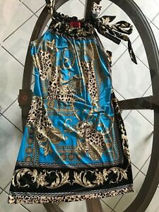CARINA Dress Baroque Designer Inspired Print Sleeveless Blue Black Party Sz L