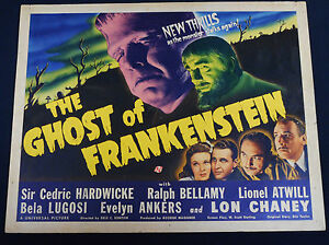 THE GHOST OF FRANKENSTEIN 1942 * LON CHANEY * BELA LUGOSI * ROLLED HALF SHEET!!