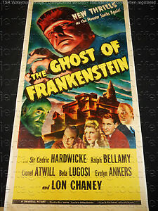 THE GHOST OF FRANKENSTEIN 1942 * LON CHANEY * BELA LUGOSI * RARE THREE SHEET!!