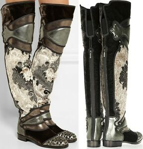 DOLCE & GABBANA Runway Knight Armor Over Knee Boots One of a Kind S 40 US 9.5-10