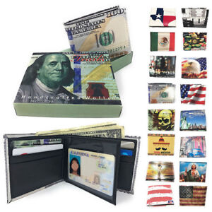 100 Lot Printed Designs Bifold Wallets Gift Box Mens Womens Wholesale