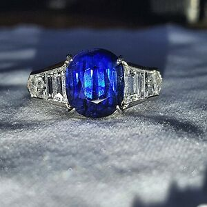 7.59CT. NATURAL KASHMIR UNTREATED  BLUE SAPPHIRE CUSHION platinum ring