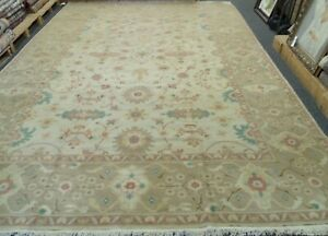 HANDMADE ORIENTAL RUG 100% WOOL VEGE DYE ALL OVER FLORAL DESIGN 10'3'' x 14'3''