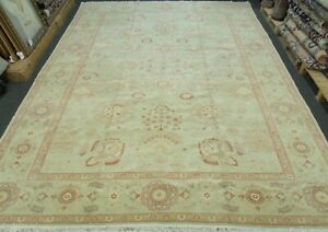 HANDMADE ORIENTAL RUG 100% WOOL VEGE DYE ALL OVER FLORAL DESIGN 10'1'' x 13'4''