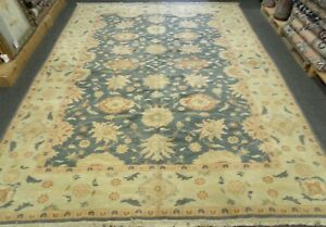 HANDMADE ORIENTAL RUG 100% WOOL VEGE DYE ALL OVER FLORAL DESIGN 9'3'' x 12'5''