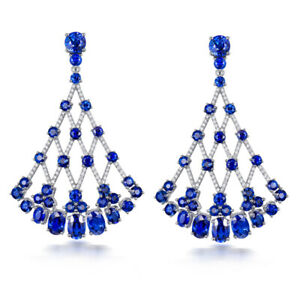 Luxury Design Jewelry 18k White Gold Diamond Sri Lanka Blue Sapphire Earrings