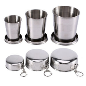 Stainless Steel Portable Camping Keychain Collapsible Mug Folding Cup Drinkware