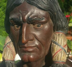 NYC CIGAR STORE INDIAN antique statue vtg tobacco humidor manhattan island art