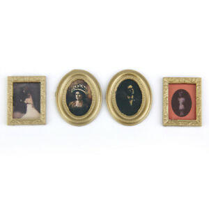 Dollhouse Miniature 4 Picture In Photo Frames Victorian Paintings Wall Decor $8.24
