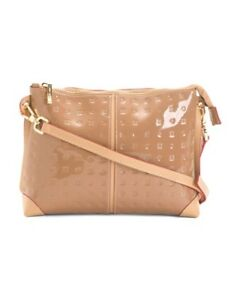 Arcadia Italian Striped Crossbody Beige Patent Leather & Natural Trim NWT