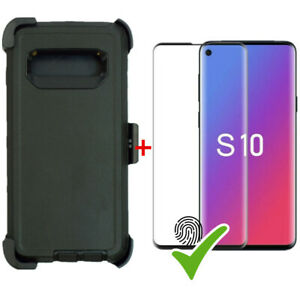 BLACK Defender Case For Samsung Galaxy S10 WScreen Protector&Clip Fits OtterBox