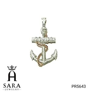 925 Sterling Silver Gold Plated Big Anchor Design Iced Out Lab Diamonds Pendant