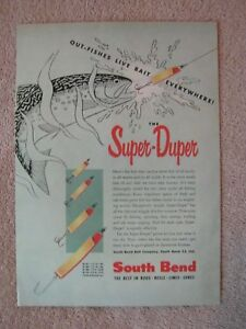 Vintage 1954 South Bend Super-Duper Fishing Lures Out-Fishes Live Bait Print Ad