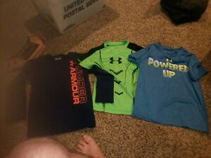 3 USED BOYS UNDER ARMOUR SHIRTS 2 SIZE FOR ONE SIZE 6