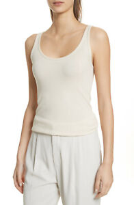 E007 NWT VINCE RIBBED FAVORITE WOMEN TANK TOP SIZE XS, S, M in CREAM $65