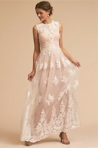 NWOT Anthropologie BHLDN Embroidered White Ivory Tulle Lace Wedding Dress 6
