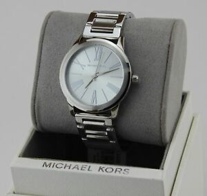 NEW AUTHENTIC MICHAEL KORS HARTMAN SILVER BRACELET WOMEN'S MK3489 WATCH