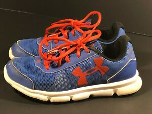 Kids Size 1Y Under Armour Running Training Shoes Blue Red White Black