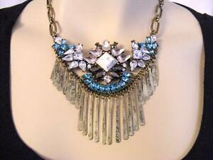 $58 Baublebar Bold Bib Statement Necklace Rhinestone Brasstone Fringe AS-IS