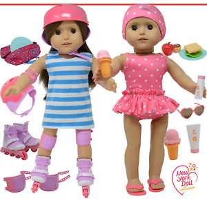 Doll Roller Skates -18 inch Doll Clothes - Doll Accessories Play Set fits Girl