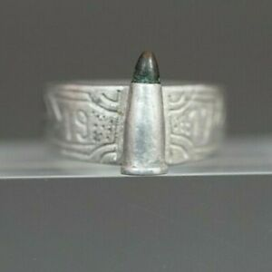 1917 Dated WWI Unique Military Officer's Trench Art Ring Gun Ammo Bullet Gem
