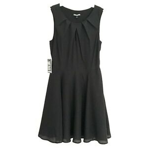Express Womens 4 Dress Black Fit & Flare Cocktail Keyhole Sleeveless Lined Party