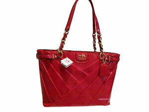 NWT Coach Madison Punch Red Diagonal Pleated Patent Leather Tote Bag Purse 21300