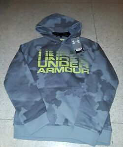 NWT UNDER ARMOUR BOYS GRAY CAMO camouflage PULLOVER HOODIE HOODY $29.99