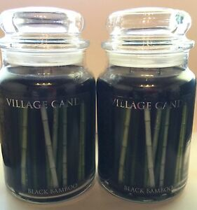 VILLAGE CANDLE BLACK BAMBOO MANLY COLOGNE SOY WAX SCENTED CANDLES 2 PIECE SET