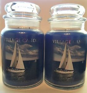 VILLAGE CANDLE SUMMER BREEZE NAUTICAL OCEAN BLUE SOY WAX CANDLES 2 PIECE SET