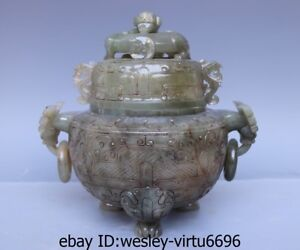 Chinese Old He Tian Jade Nephrite Carving Tripod Ding Incense burner Censer AA