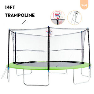 14FT Round Trampoline Combo wSafety Enclosure&Spring Pad&Basketball Hoop&Ladder