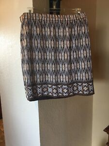 Chicos Skirt NWT 3 Patterned Brown lined stretchy $10.80