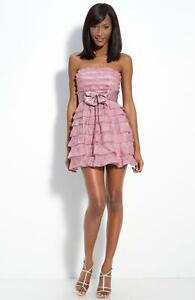 BCBG MAX AZRIA Ruffle Tiered Tie Front Dress 4  new