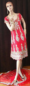 Pakistani Bridal Dress RED & Dupatta Train with Heavy Embroidery & MANY Stones