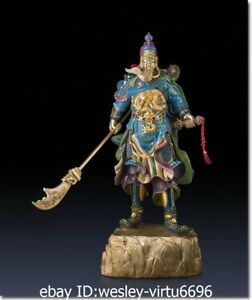 Old Pure Brass Copper Hand Painting Guan Gong Dragon Guan Yu Statue Of Warrior