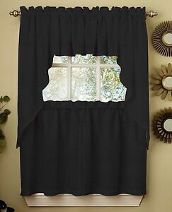Ribcord Solid Black color Kitchen Curtain Brand NEW $15.99